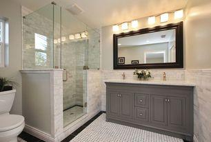 Traditional Master Bathroom with Ann Sacks Carrara Wicker Marble Tile, American Standard Tropic Cadet Pro Round Toilet, Flush