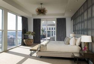 Contemporary Master Bedroom with Carpet, Chandelier, specialty door