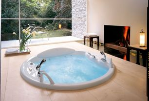 Contemporary Master Bathroom with slate tile floors, Master bathroom, Contemporary fire place, Jacuzzi, Wood planks