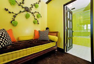 Eclectic Master Bedroom with Standard height, Glass panel door, Crown molding, Carpet