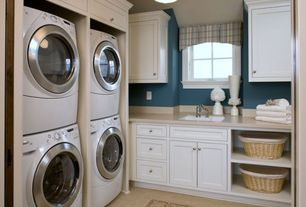 Traditional Laundry Room with LG 4.3-cu ft High-Efficiency Stackable Front-Load Washer with Steam Cycle, Undermount sink