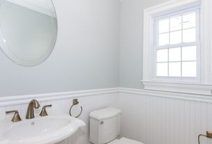 Traditional Powder Room with Crown molding, Round Beveled 30-Inch Frameless Wall Mirror, Powder room, Pedestal sink