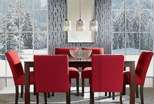 Contemporary Dining Room with interior wallpaper, Pendant light, High ceiling, Laminate floors