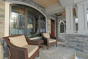Traditional Porch with Arched window, Wrap around porch, Glass panel door, Rst club chair 3 piece patio set