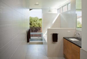room with Rain shower, Flush, Soapstone counters, European Cabinets, Undermount sink, tiled wall showerbath