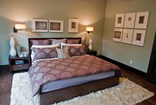 Modern Master Bedroom with Hardwood floors, Wall sconce, Nuloom handmade soft plush shag rug from overstock.com