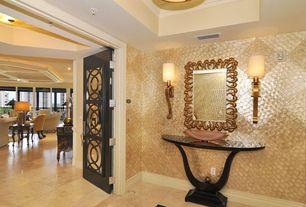 Traditional Entryway with specialty door, interior wallpaper, flush light, Wall sconce, sandstone tile floors