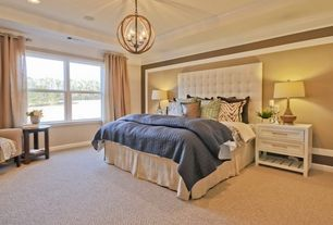 Traditional Master Bedroom with Warm Beige Berber Carpet, Magnussen Clearwater 2 Drawer Nightstand, Carpet, High ceiling