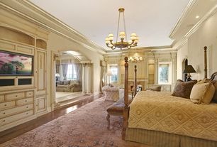 Traditional Master Bedroom with Cement fireplace, Chandelier, Fine antique persian tabriz rug, Casement, High ceiling, Paint