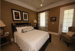 Traditional Guest Bedroom with French doors, Crown molding, Ceiling fan, Carpet