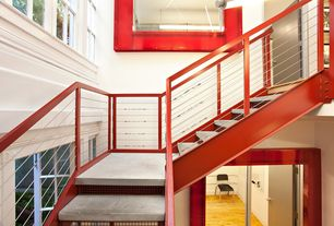 Contemporary Staircase with Crown molding, Concrete floors, Cathedral ceiling