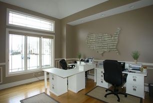 Contemporary Home Office with Wainscotting, Hardwood floors