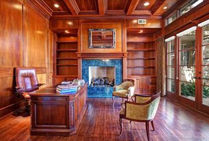 Craftsman Home Office with Transom window, Velvet side chair, Wood paneled ceiling, French doors, Crown molding, Exposed beam
