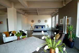 Contemporary Master Bedroom with Columns, double-hung window, Concrete floors, Standard height, Exposed beam