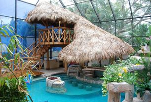 Tropical Swimming Pool with Gazebo, Indoor pool, Swim up bar, exterior stone floors