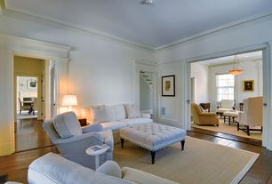 Traditional Living Room with Baxton Studio Keswick Beige Linen Modern Tufted Ottoman, specialty door, Crown molding