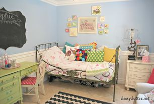 Eclectic Kids Bedroom with travertine tile floors, High ceiling, Crown molding, Wainscotting