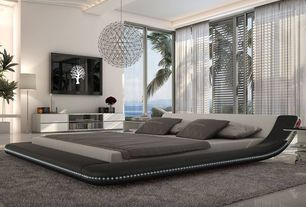 Contemporary Master Bedroom with Built-in bookshelf, High ceiling, Viesso berber dark gray shag rug, 9 x 12, Chandelier