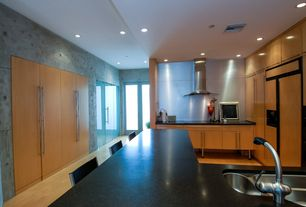 Contemporary Kitchen with European Cabinets, French doors, Soapstone counters, Galley, Flush, Stainless Steel