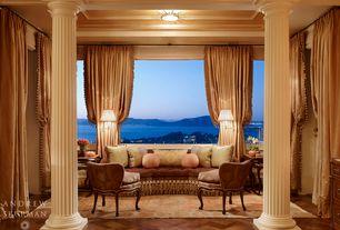 Mediterranean Living Room with Standard height, Hardwood floors, Lexington Upholstery Estate Sofa, Built-in bookshelf