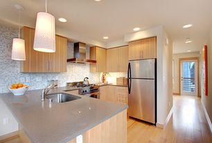 Contemporary Kitchen with Undermount sink, European Cabinets, Laminate floors, U-shaped, Dupont Dove Corian, Pendant light