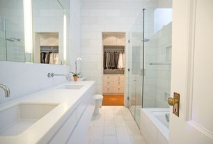 Modern Master Bathroom with Undermount sink, specialty door, European Cabinets, Rain shower, Double sink, Corian counters
