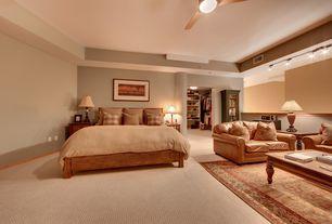 Master Bedroom with flush light, Carpet, Ceiling fan, Columns