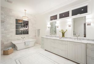 Traditional Master Bathroom with Daltile Marble Collection First Snow Elegance, Complex Marble, Complex marble counters