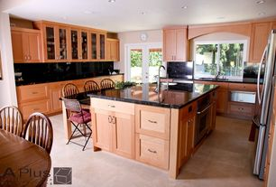 Modern Kitchen with Glass panel, Flat panel cabinets, Kitchen island, French doors, Simple Marble, U-shaped, Flush