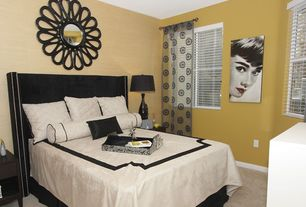 Modern Guest Bedroom with Comran Wall Mirror - 44 diam. in., Portland 1 Drawer Nightstand, Carpet