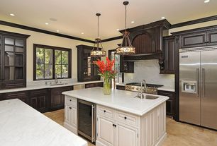 Traditional Kitchen with stone tile floors, Casement, Pendant light, Bellaterra home- backsplash - white marble, Custom hood