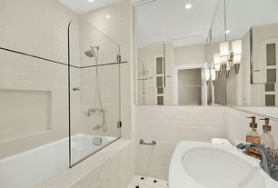 Contemporary Full Bathroom with Ark Showers Frameless Shower Screen, tiled wall showerbath, Mexican tile, Undermount sink