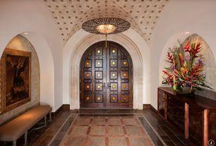Mediterranean Entryway with simple marble floors, Rosso verona marble, Chandelier, Archeo venice series 311 pendant light