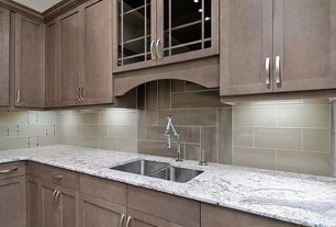Contemporary Kitchen with Flat panel cabinets, L-shaped, Glass panel, Ms international andino white granite, Subway Tile