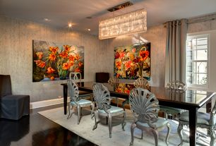 Eclectic Dining Room with Hardwood floors, Chandelier, interior wallpaper