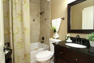 Craftsman Full Bathroom with Rayne mirrors ava european walnut wall mirror, Floor-standing ladder