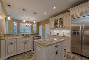 Traditional Kitchen with Complex granite counters, Kenmore Side by Side Refrigerator, Pendant light, L-shaped, Kitchen island