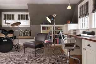 Contemporary Home Office with Laminate floors, Platner side table, Window seat, Greek key area rug, Built-in bookshelf