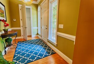 Contemporary Entryway with Standard height, Arched window, picture window, flush light, six panel door, Hardwood floors