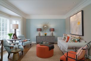 Contemporary Living Room with Laminate floors, West Elm Martini Side Table - Metallics, Paint1, Safavieh Michael Ottoman