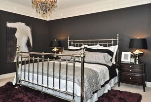 Traditional Master Bedroom with Crown molding, Chandelier, Carpet