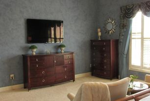 Traditional Master Bedroom with Carpet, Standard height, flush light, picture window, Paint, interior wallpaper