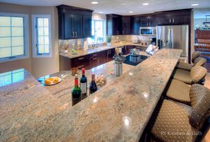 Traditional Kitchen with Breakfast bar, Flush, Flat panel cabinets, Complex granite counters, U-shaped, Subway Tile