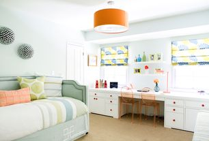 Contemporary Guest Bedroom with specialty door, Casement, Standard height, Orange fabric ceiling lamp from landofnod.com