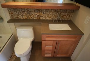 Modern Full Bathroom with frameless showerdoor, Powder room, Shower, Terracotta Tile, six panel door, Flat panel cabinets