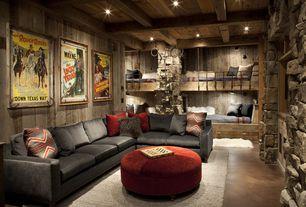 Rustic Kids Bedroom with Orange, Black, Gray Chevron IKAT Velvet Throw Pillow Cover, Bunk beds, Exposed beam, Concrete floors