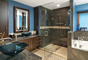 Contemporary Master Bathroom with Vessel sink, Complex granite counters, European Cabinets, Master bathroom, Flush