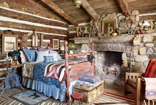 Rustic Guest Bedroom with Exposed beam, High ceiling, stone fireplace, Chandelier, Hardwood floors, Fireplace