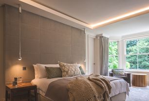 Contemporary Master Bedroom with Carpet, double-hung window, Standard height, Pendant light, Crown molding, Paint