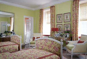 Traditional Guest Bedroom with Hardwood floors, double-hung window, Crown molding, six panel door, Standard height